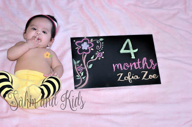 4 Months Old, Baby, Baby Girl, Chalkboard, Chalkboard Art, SAHM, Baby Photography, Baby Photoshoot, Baby Zoe, Zofia Zoe, Baby OOTD, Apple Baluyut Photography, Photoshoot by Mom, Baby Milestones