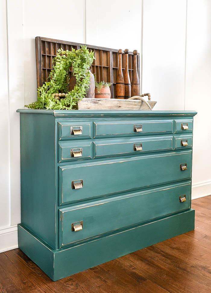 vintage boho inspired dresser makeover
