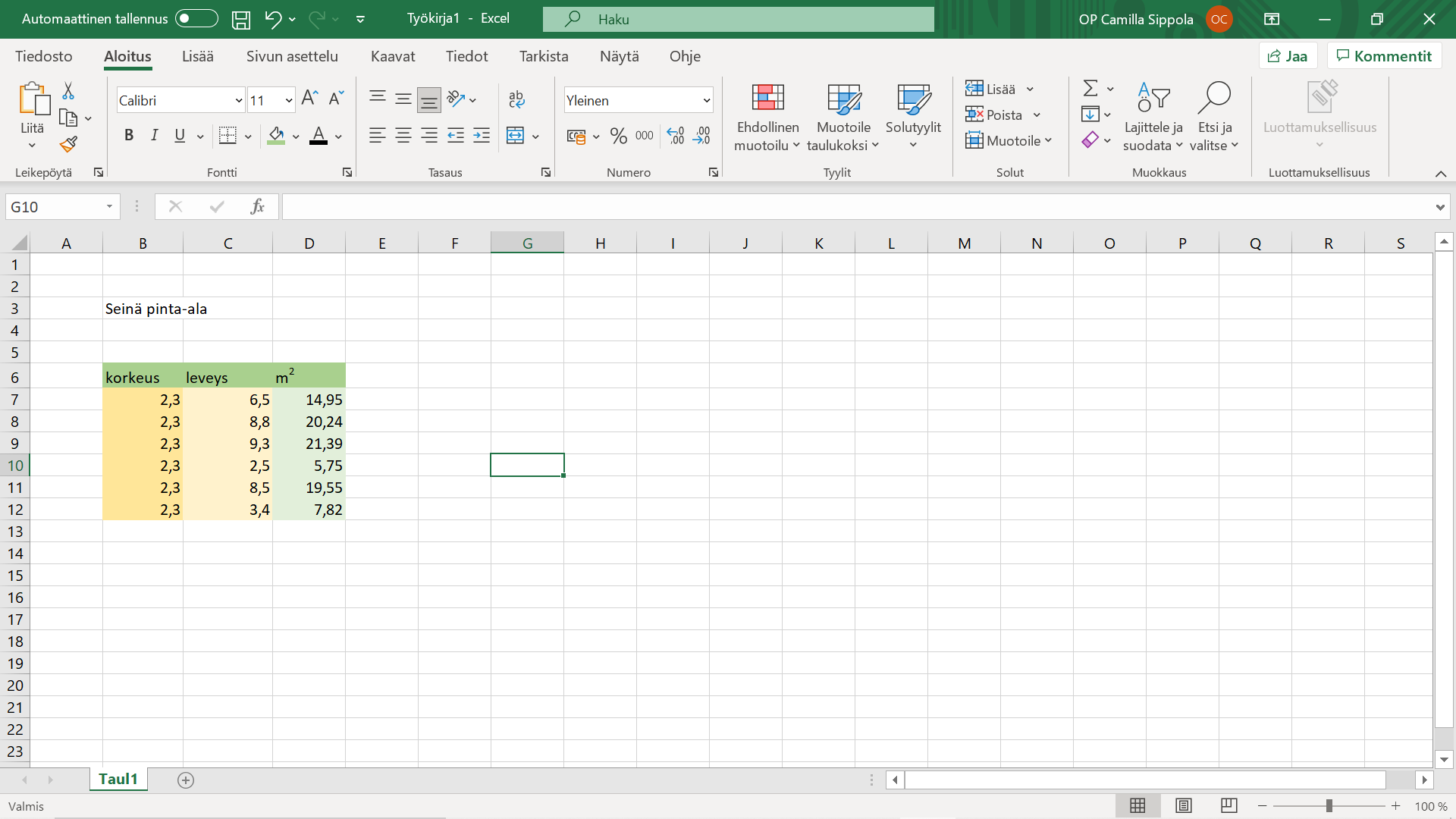 Excel taulukko