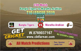 T10 League 2019 Maratha vs Bangla 23rd T10 League 2019 Match Prediction Today Reports