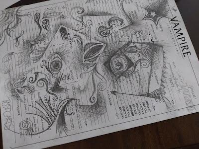 graphite doodles, partial squares, curves, paisleys, shading