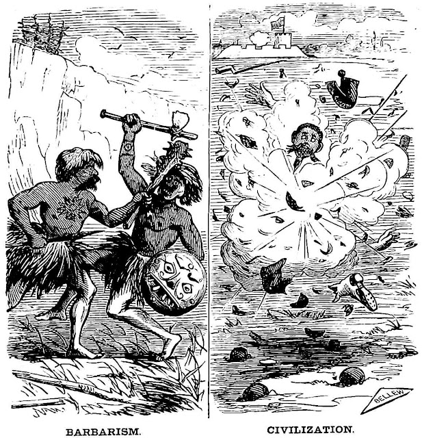 An 1870 cartoon about war and civilization