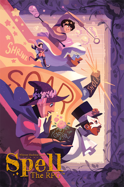The cover of Spell: The RPG with characters casting spells of varying kinds, mostly in purple, pink, and white colors.