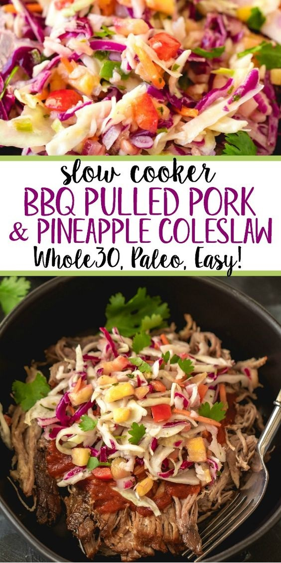 Slow Cooker Pulled Pork With Pineapple Coleslaw