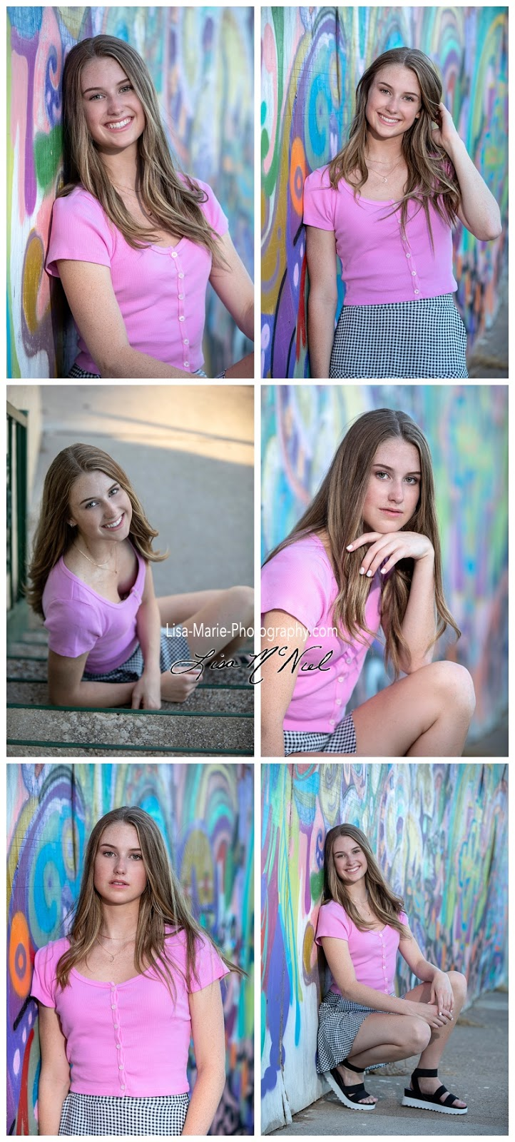 collage of girl posing by graffati wall