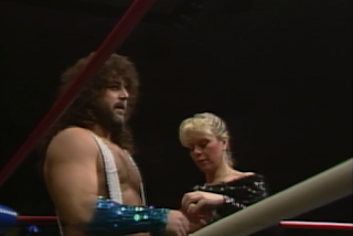 NWA CLASH OF THE CHAMPIONS 1 - 1988: Gorgeous Jimmy Garvin (w/ Precious) prepares to challenge Mike Rotundo for the TV title