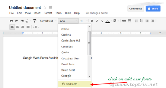 Use Google Web Fonts In Google Docs | TopTrix