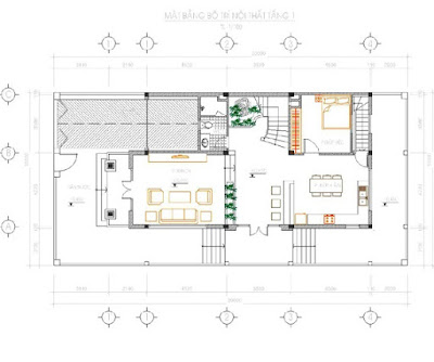 Mặt bằng tầng 1 căn hộ biệt thự Dương Nội