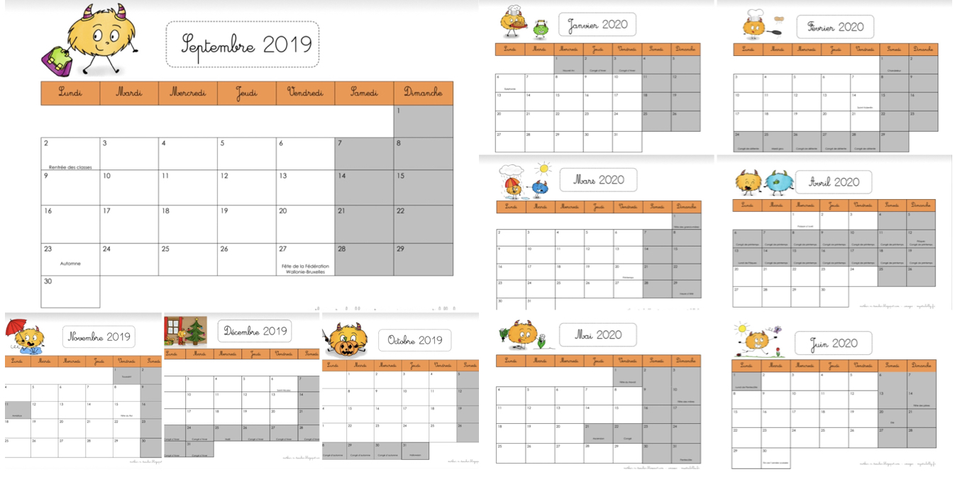 Calendrier Mensuel Decembre 2019.Calendriers Perpetuels Et Calendrier 2019 2020