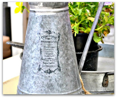 galvanized pitcher with transfer image