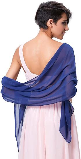 Best Plain Blue Chiffon Scarves Shawls