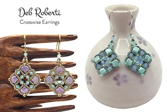 Crosswise Earrings, free Ginko bead pattern