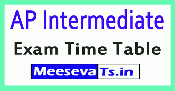 AP Inter I / IInd Year Annual Exam Time Table