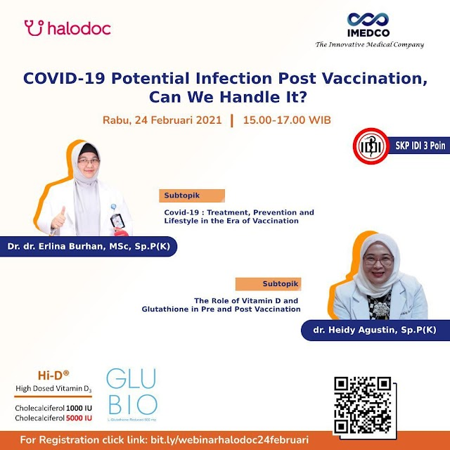 "Free 3 SKP IDI Webinar ""COVID-19 Potential Infection Post Vaccination, Can We Handle It?"""