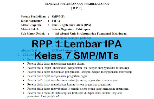 RPP 1 Lembar IPA Kelas 7 SMP/MTs