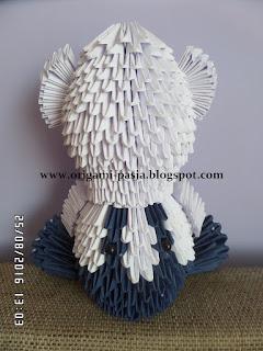 rękodzieło, miś, z papieru, biały, granatowy, origami modułowe, 3d, segmentowe, modelowanie, papier,