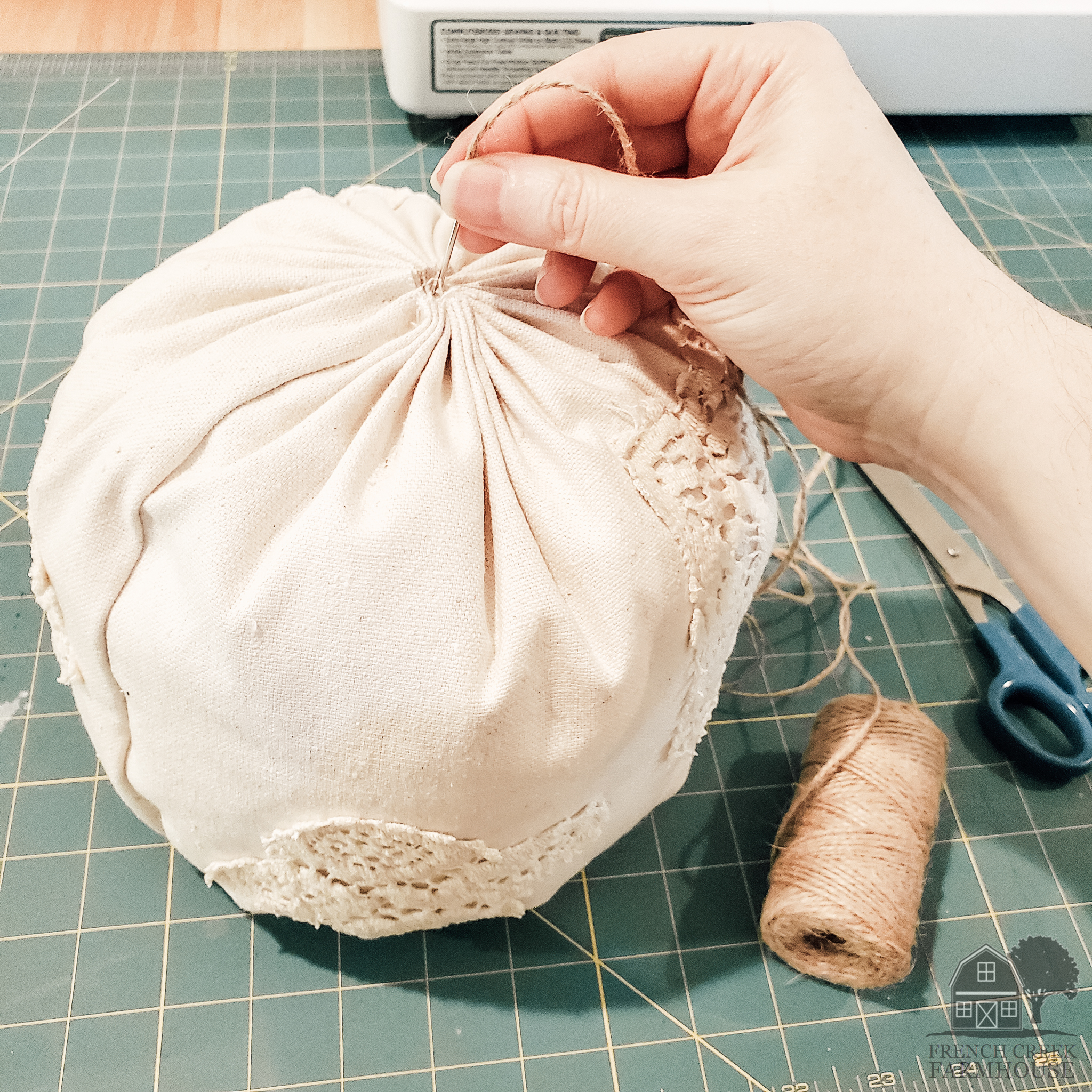 Transform your fabric ball to a pumpkin with twine