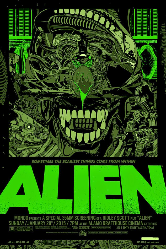 Alien Glow in the Dark Variant Screen Print by Tyler Stout