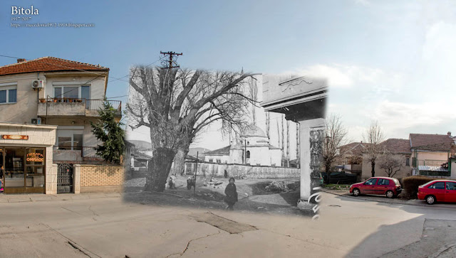"""Hamza Bey - """"Mosque of Three Sheyks"""" in Bitola 1917-2017 (Solunska street).On the photo also can be seen the riverbed of Kurderes river"""