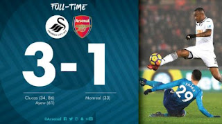 Arsenal Tumbang 1-3 di Kandang Swansea City