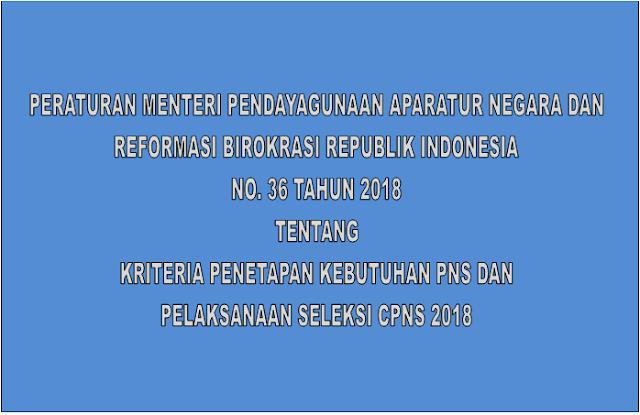 Peraturan MenPan RB Nomor 36 Tahun 2018 Tentang Kebutuhan PNS dan Seleksi Tes CPNS 2018