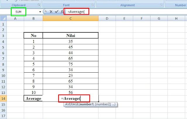 cara mencari nilai rata-rata di excel dengan rumus rata-rata excel menggunakan average