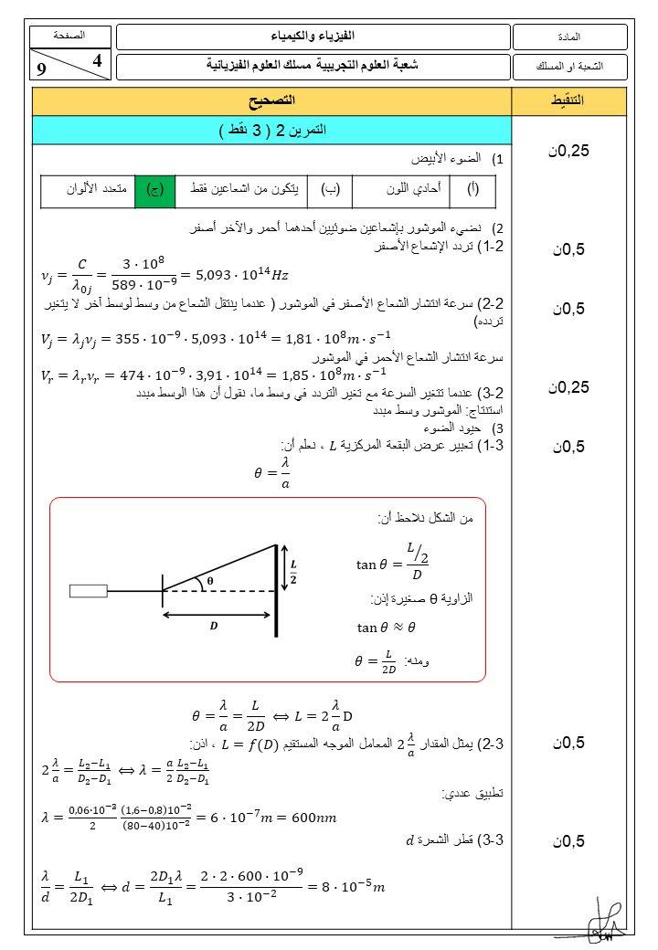 تصحيح الامتحان الوطني 2021 مادة الفيزياء و الكيمياء