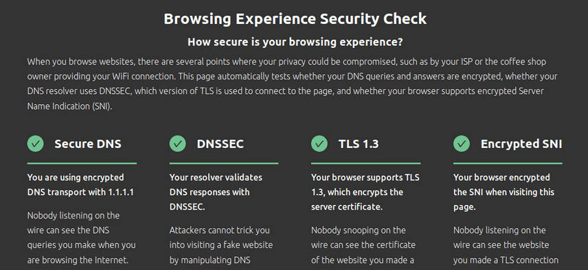 Cloudflare, DNS secure tests, Secure DNS, DNSSEC, TLS 1.3 and Encrypted SNI