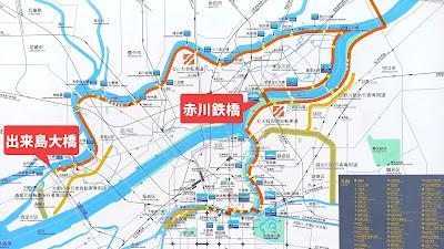 なにわ自転車道のマップ(看板から引用)
