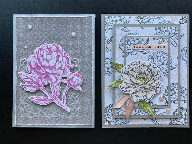 prized peony bundle, prized peony stamps and dies, peony garden suite, peony garden dsp, patterned paper, stampin' up!, vintage cards, square vellum doilies, triple time stamping technique, nicole steele, the joyful stamper, independent stampin' up! demonstrator, pittsburgh pa