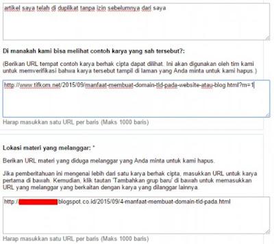 cara melaporkan pencurian artikel blog