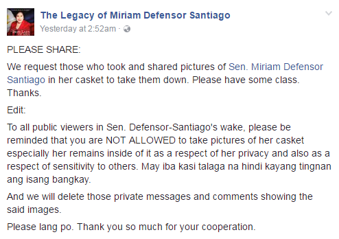 Stop posting Miriam casket photo Facebook