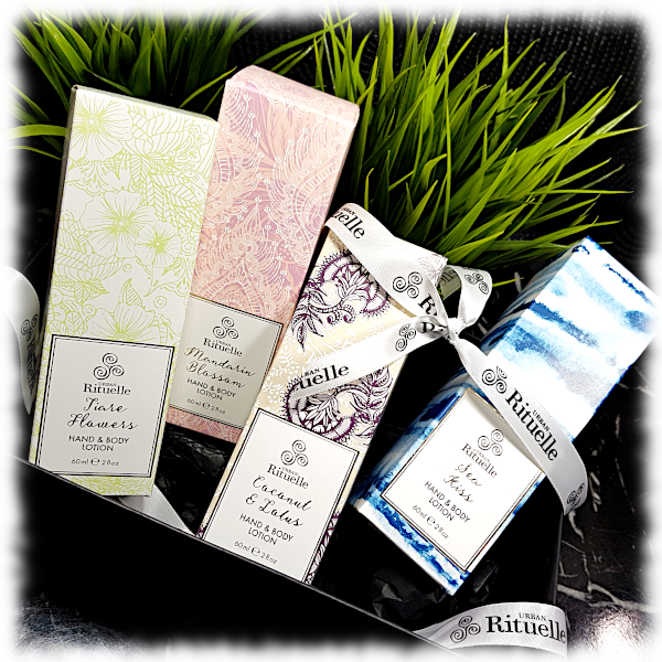 Boxed set of Hand & Body Lotions with ribbon