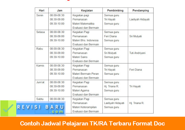 Contoh Jadwal Pelajaran TK-RA