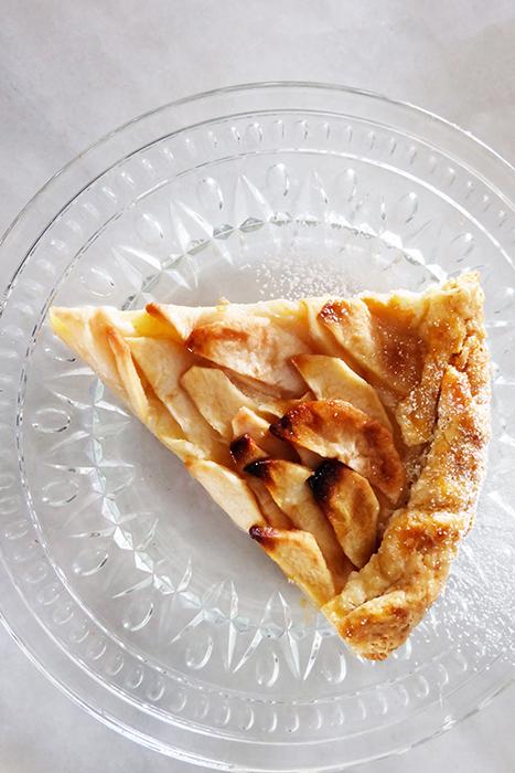 slice of rustic apple tart plated