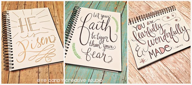 hand lettering, He is risen, let your faith be bigger than your fear, you are fearfully & wonderfully made