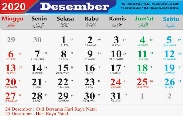 Kalender Bulan Desember 2020 dan Hari Peringatannya