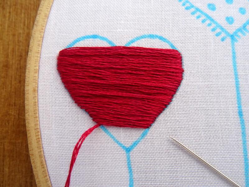 Hướng dẫn thêu trái tim màu đỏ - Hình 3