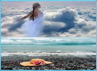 Chapéu feminino, esquecido na beira da praia. Mulher de vestes finas adentrando o mar.