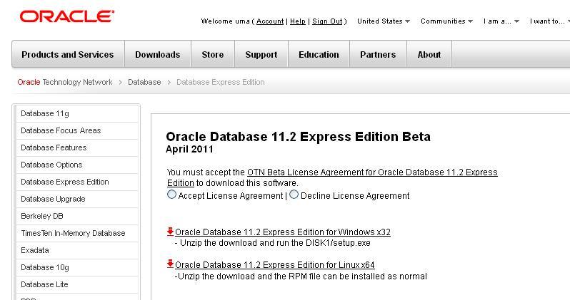 ORACLE DATABASE: Oracle Database 11g Express Edition (11 2) Beta