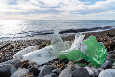 Trash and plastic bottles on an Icelandic beach