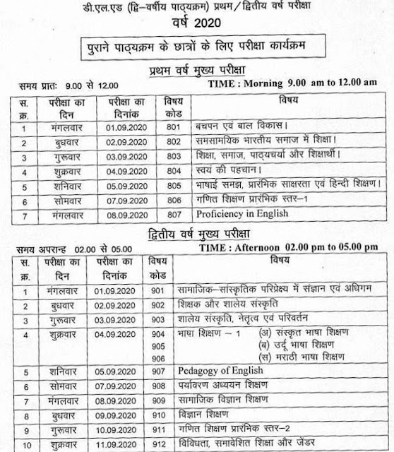 MP Deled Exam Time Table 2020 Page 2