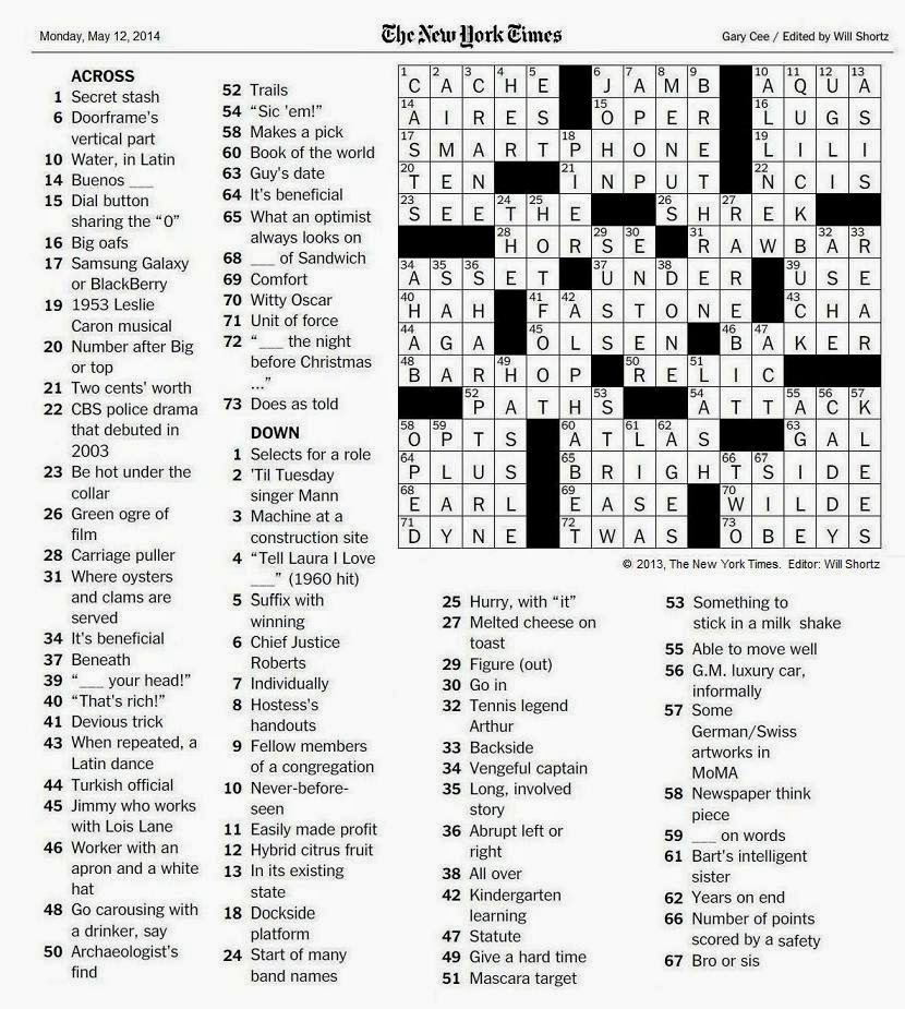 The New York Times Crossword in Gothic: May 2014