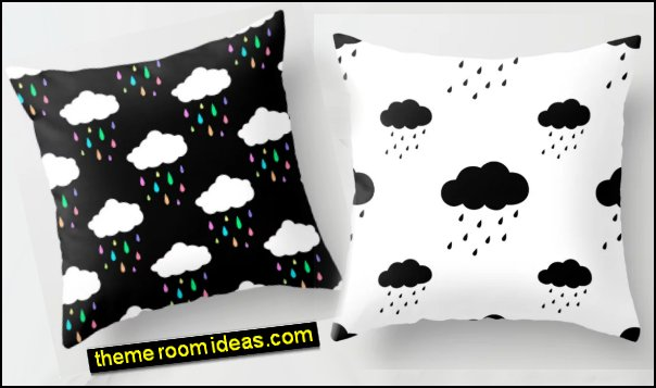 Rain Cloud Pattern Throw Pillow Rainbow Rain Cloud Throw Pillow