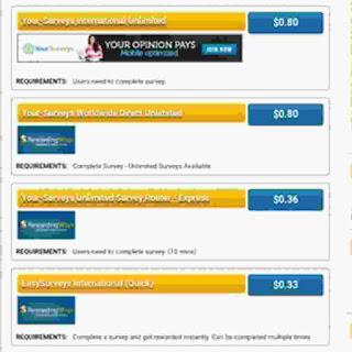 How available surveys looks like on RewardingWays website