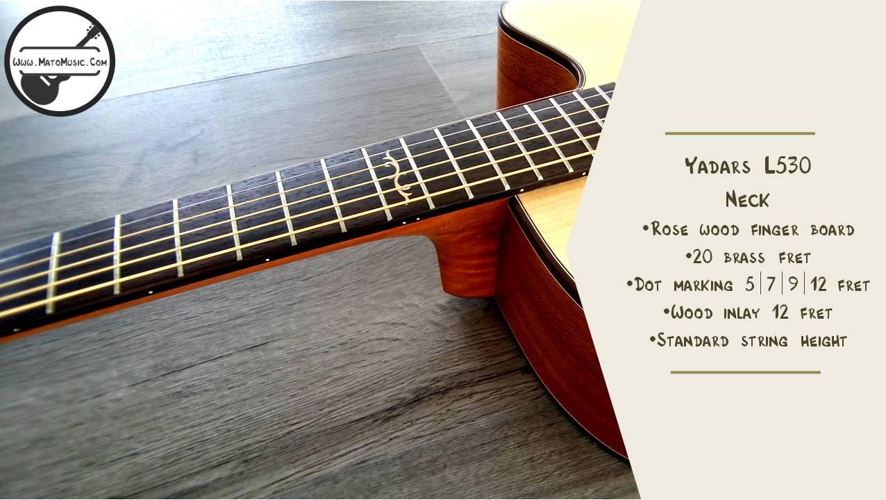 Yadars L530 Dreadnought Size Acoustic Guitar head neck front