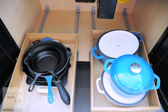 Organized roll out drawers under large exhaust fan for gas cooktop :: OrganizingMadeFun.com