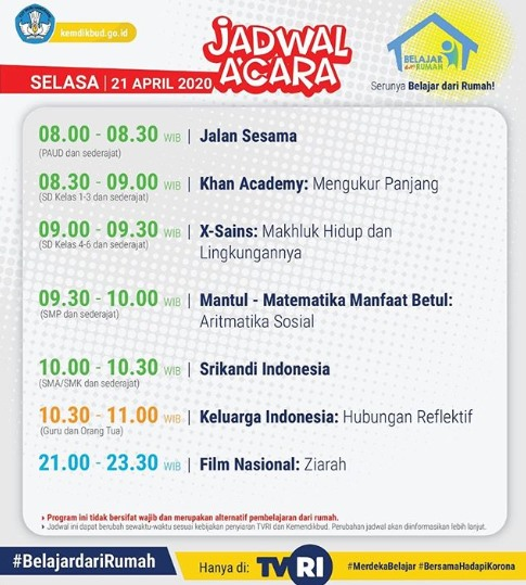 Jadwal Acara Belajar dari Rumah di TVRI Hari Selasa 21 April 2020