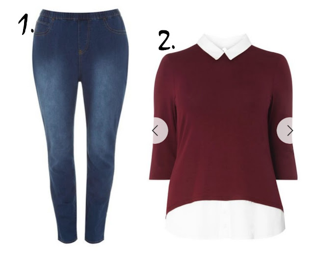 Jeggings and a smart top on a white background
