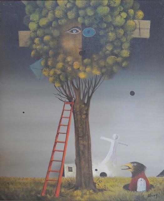 Eduard Alcoy acrílico lienzo surrealista árbol